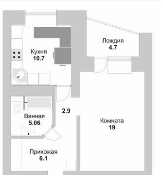 Продается 1-комнатная квартира 44,5 кв.м. этаж 7/10 ул. Кибальчича - Фото 5