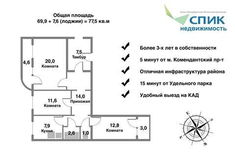 Квартира отличной планировки (с двумя балконами) в 5 минутах от метро - Фото 2