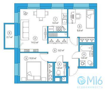 Продажа 2-комнатной квартиры, 55.15 м2 - Фото 2
