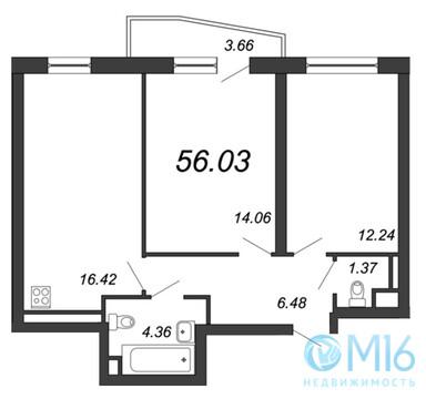 Продажа 2-комнатной квартиры, 56.03 м2, Московское ш, д. 13 - Фото 2