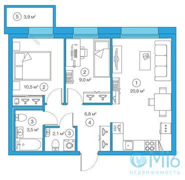 Продажа 2-комнатной квартиры в Приморском районе, 52.48 м2 - Фото 2