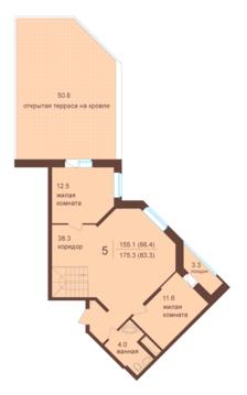 Двухуровневый пяти-комнатный пентхаус с террасой. Мытищи, 3 км от МКАД - Фото 5