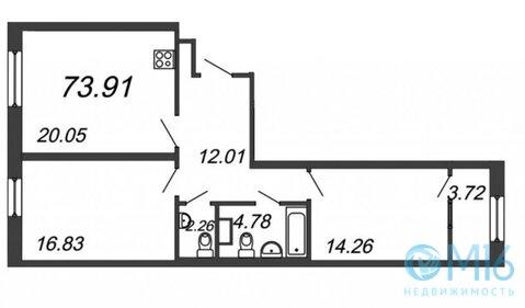 Продажа 2-комнатной квартиры, 73.91 м2 - Фото 2
