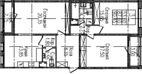 3-к квартира, 90.5 м2, 4/9 эт. - Фото 2