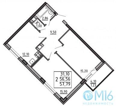 Продажа 2-комнатной квартиры, 57.79 м2 - Фото 2