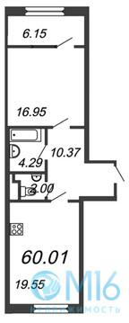 Продажа 1-комнатной квартиры, 60.01 м2 - Фото 2