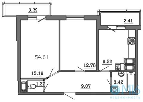 Продажа 2-комнатной квартиры, 54.61 м2 - Фото 2