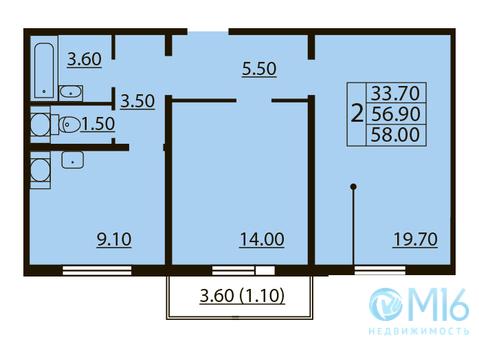 Продажа 2-комнатной квартиры в Калининском районе, 58 м - Фото 2