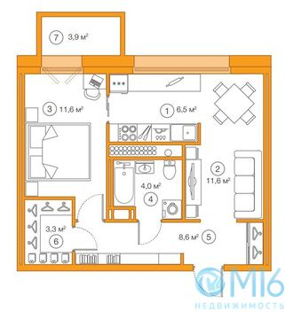 Продажа 1-комнатной квартиры, 45.54 м2 - Фото 2
