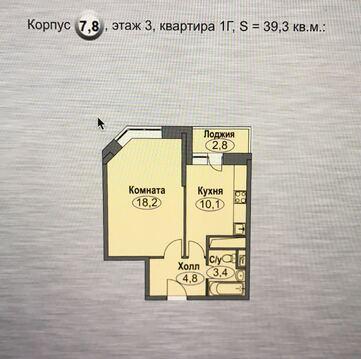 1-но ком. квартира 39 кв. м 3/17 к Домодедово, ул. Лунная 35 - Фото 1