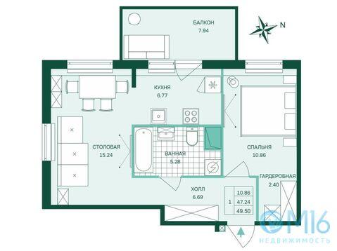 Продажа 1-комнатной квартиры 49.5 м2 - Фото 2