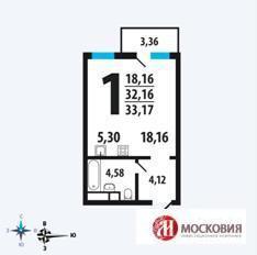 1комн. квартира в Новой Москве, 15 км от МКАД, Калужское ш. - Фото 1