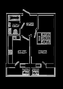 1-комнатная квартира 41,81 кв. м. в ЖК Никольский посад
