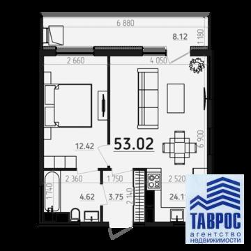 1-комн смарт-квартира 54м2 Кальная - Фото 4