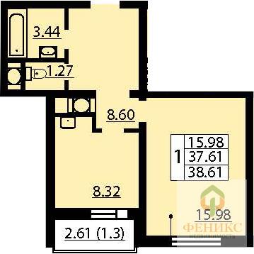 1-к. кв. 38.91 кв.м в жилом комплексе Калейдоскоп 1 оч. корп. 1 на 6 . - Фото 2