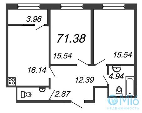 Продажа 2-комнатной квартиры, 71.38 м2 - Фото 2