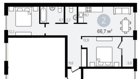 Г. Видное 2-х комнатная квартира - Фото 3