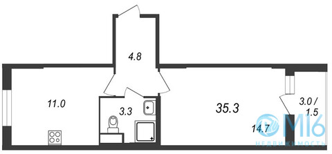 Продажа 1-комнатной квартиры, 35.3 м2, Муринская дор. - Фото 2