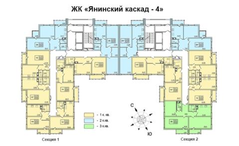 Продается 1 к.кв. 43 кв.м. в ЖК Янинский каскад-4 на 7 этаже в Янино-1 - Фото 3