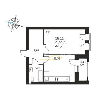 Екатерининский Парк, Однокомнатная квартира 49 метров квадратных - Фото 2