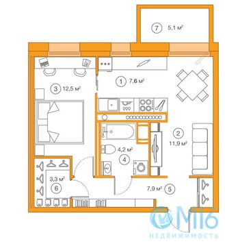 Продажа 1-комнатной квартиры, 47.38 м2 - Фото 2