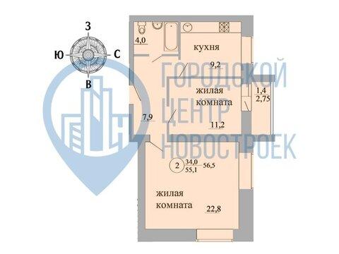 Продажа 2-комнатной квартиры, 56.5 м2, г Киров, Березниковский . - Фото 1