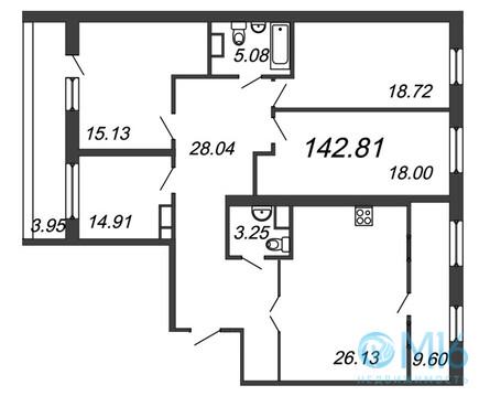 Продажа 4-комнатной квартиры, 142.81 м2 - Фото 2