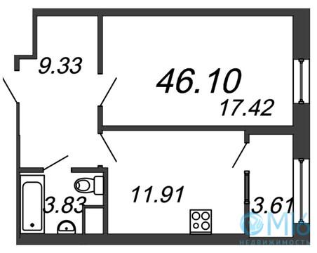 Продажа 1-комнатной квартиры, 46.1 м2 - Фото 2