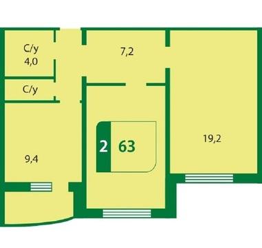 2 комнатная квартира в новом доме, ул. Семенова, д. 27к3, Тюменский - Фото 4