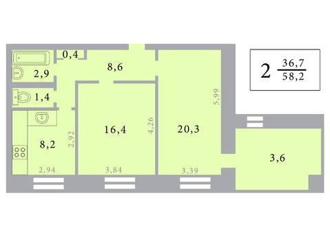 Просторная 2-х комнатная квартира 65 кв.м. - Фото 2