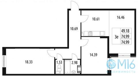 Продажа 2-комнатной квартиры в Красносельском районе, 74.99 м2 - Фото 1