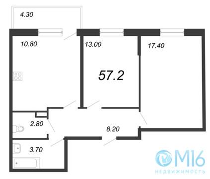 Продажа 2-комнатной квартиры, 57.2 м2 - Фото 2