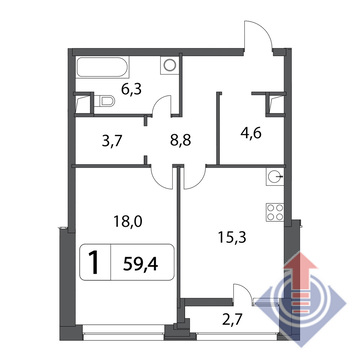 Объявление №43303086: Квартира 1 комн. , ул. Маломосковская,