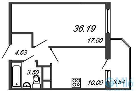 Продажа 1-комнатной квартиры, 36.19 м2 - Фото 2