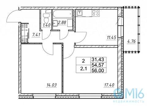 Продажа 2-комнатной квартиры, 56 м2 - Фото 2