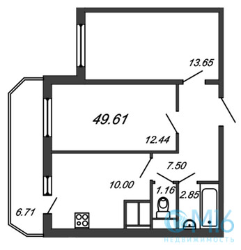 Продажа 2-комнатной квартиры, 49.61 м2 - Фото 2