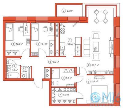 Продажа 3-комнатной квартиры, 98.19 м2 - Фото 1