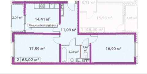 2-комнатная Эталон-сити Париж, Старокрымская 15к2 (ном. объекта: 3412) - Фото 1