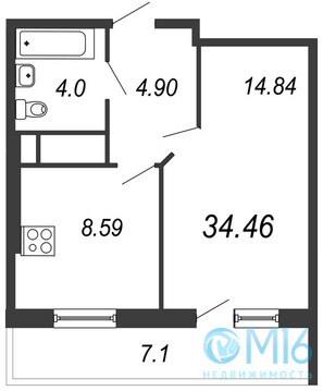 Продажа 1-комнатной квартиры, 34.46 м2 - Фото 2