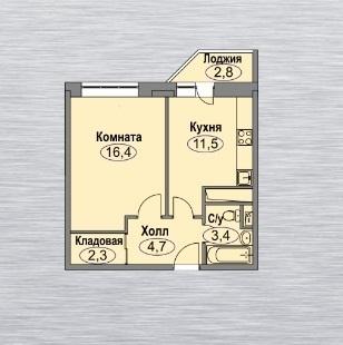 1 комнатная квартира 39,7 квм в монолитно-кирпичном доме. - Фото 3