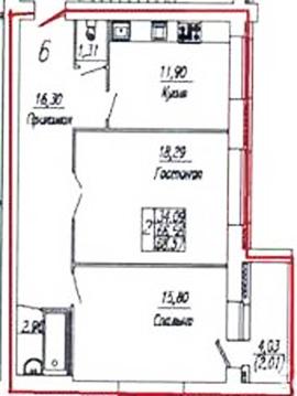 Двухкомнатная 69 кв.м. в сданном доме на Правом Берегу - Фото 2