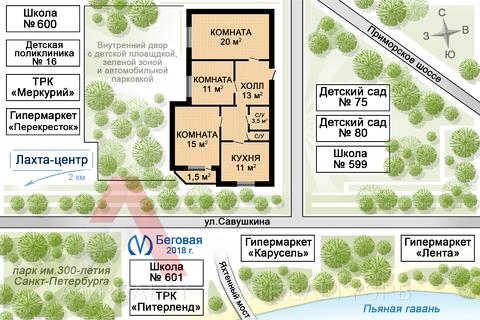 Пп супер цена видовая 3ккв квартира в приморском районе парк лахта - Фото 2
