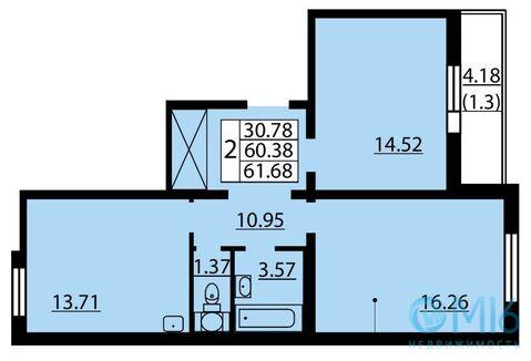 Продажа 2-комнатной квартиры, 61.68 м2 - Фото 2