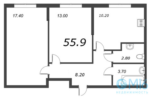 Продажа 2-комнатной квартиры, 55.9 м2 - Фото 2