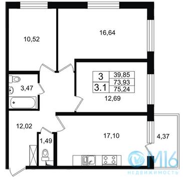 Продажа 3-комнатной квартиры в Кировском районе, 75.24 м2 - Фото 1