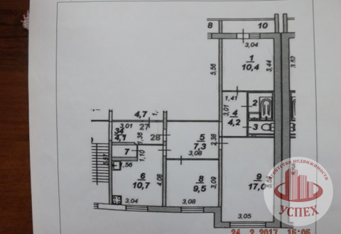 3-комнатная квартира на улице Молодежная дом 9