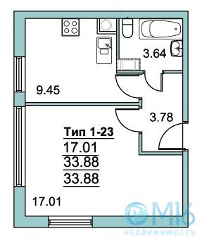 Продажа 1-комнатной квартиры во Всеволожском районе, 34.5 м2 - Фото 1