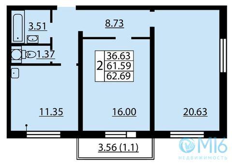 Продажа 2-комнатной квартиры, 62.69 м2 - Фото 2