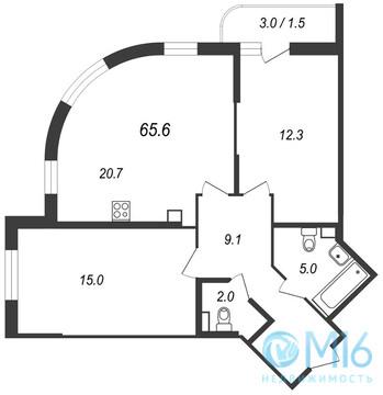 Продажа 2-комнатной квартиры во Всеволожском районе, 65.6 м2 - Фото 1