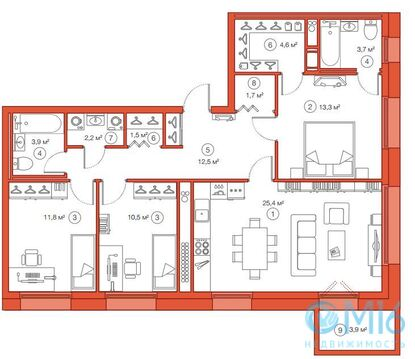 Продажа 3-комнатной квартиры, 91.1 м2 - Фото 2